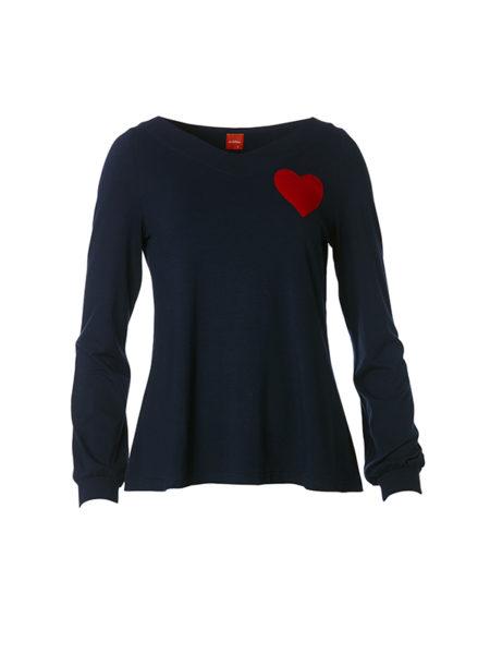 Blå Alberta bluse med rødt hjerte