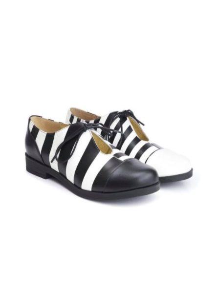 Flade sko fra Lola Ramona med striber i hvidt og sort læder
