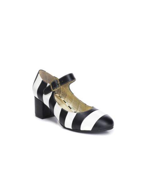 Lola sko med lidt hæl ig i stribet læder