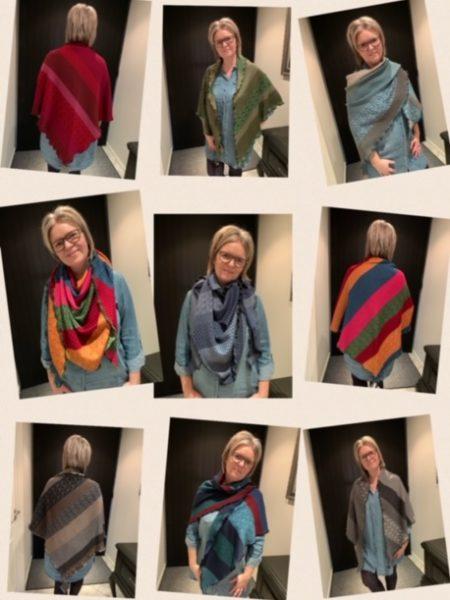 Tykke strikkede sjaler/tørklæder i merino uld
