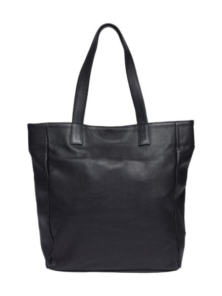 Sort læder taske med plads til en mappe og en pc