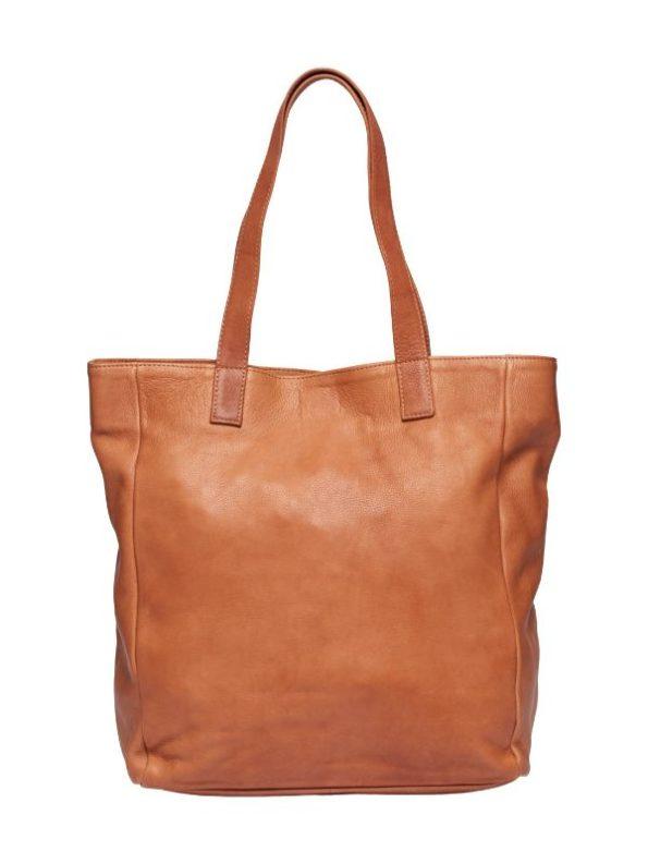Stor lædertaske fra Tim & Simonsen i cagnac farve
