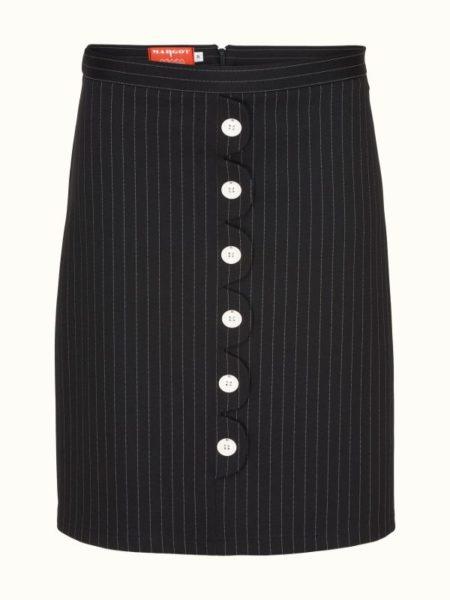 kort smal sort nålestribet nederdel