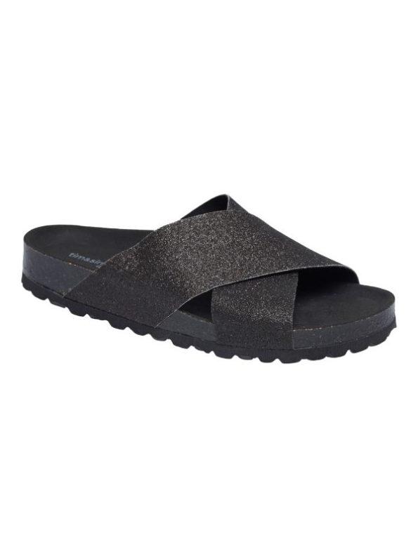 sort glitter sandal fra tim og simonsen