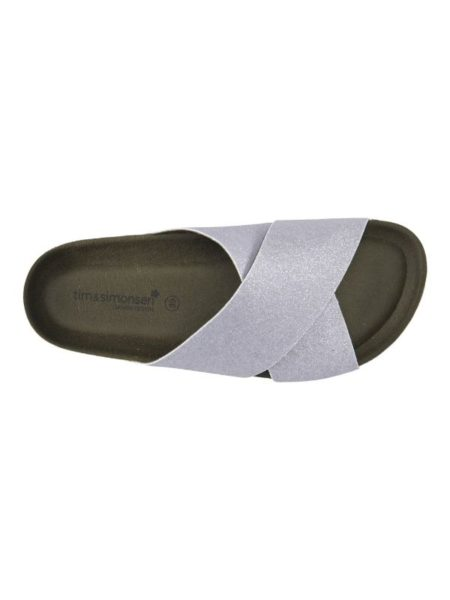 kork sandal fra tim og simonsen med sølv glitter