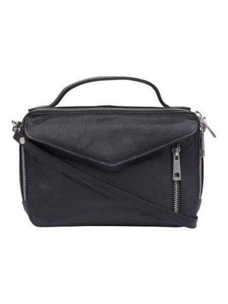 sort læder taske med hank