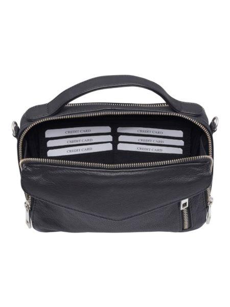 sort lædertaske med hank og rem