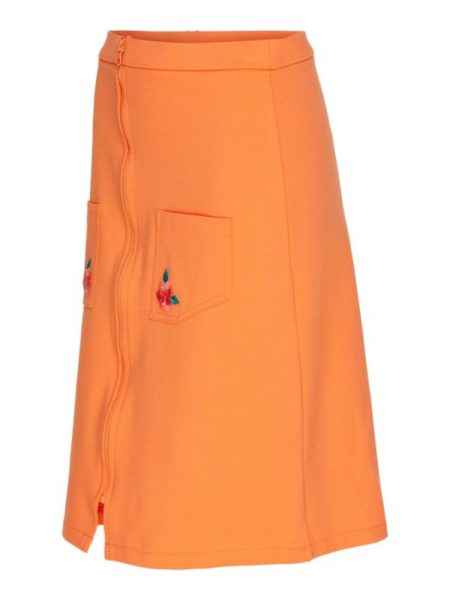 Flot orange nederdel i knælængde