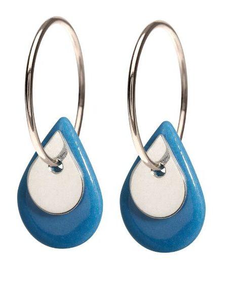 Dråbeformet blåt porcelænssmykke i øreringe af sterling sølv