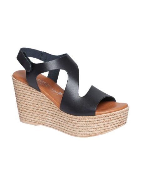 Sort sandal i kalveskind med plateau
