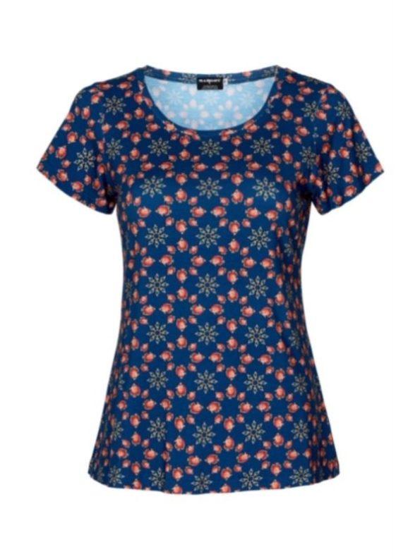 Flot blå t shirt med koralfarvede detaljer