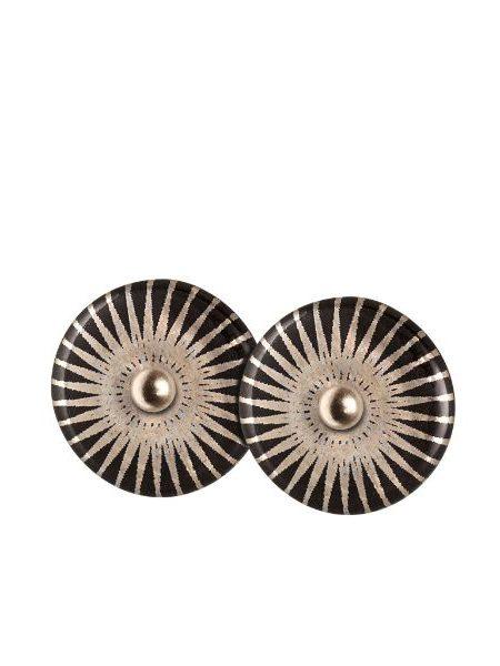 Rund ørestik i sterling sølv med porcelænsvedhæng