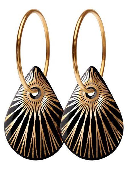 Forgyldte sterling sølv øreringe med sort porcelænssmykke