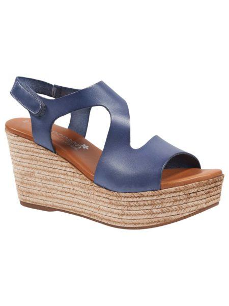 Jeans blå sandal med plateau