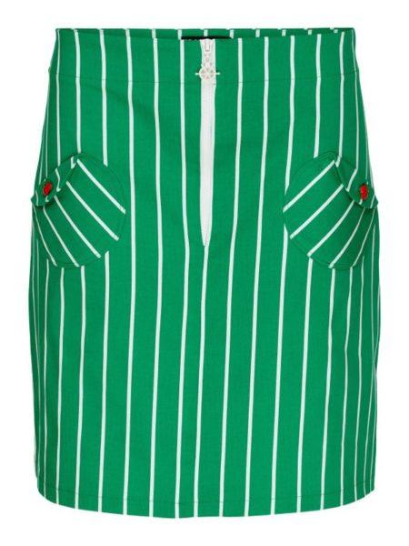 grøn og hvid stribet nederdel fra margot