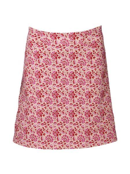 lyserød nederdel i lille A facon med røde blomster