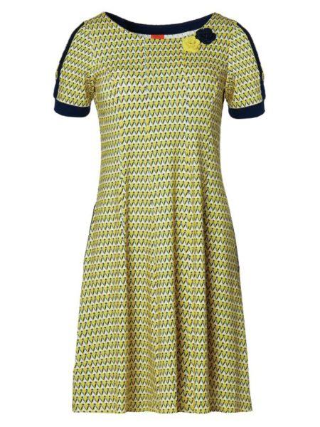 gul du milde kjole med blå kanter og blåt mønster
