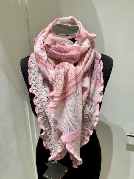 flerfarvet rosa tørklæde i merino uld