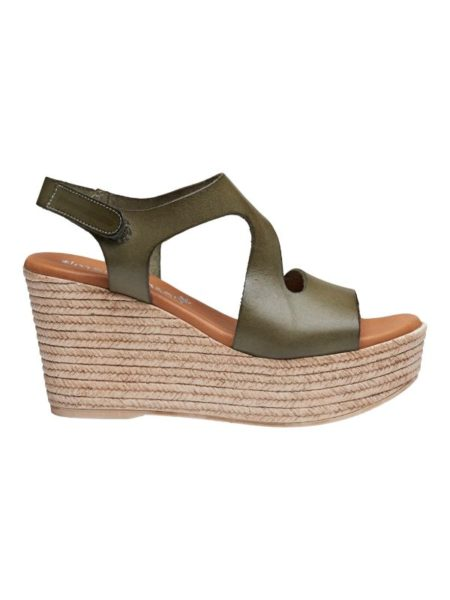 kaki farvede plateau sandaler