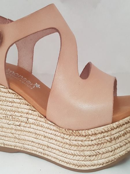 Plateau sommersandal i farven nude