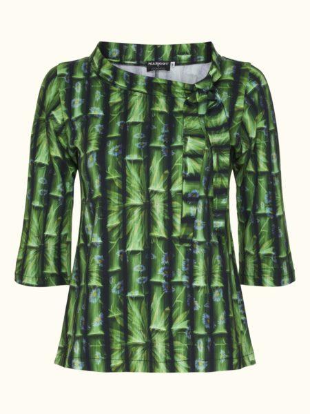 flot grøn bluse med flotte detaljer