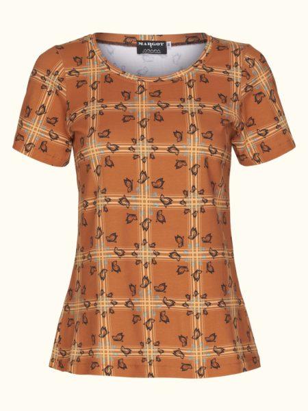 Flot t shirt i brændt orange med mønster