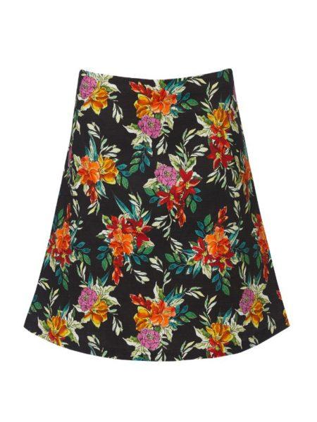Sort nederdel i A facon med farverige blomster