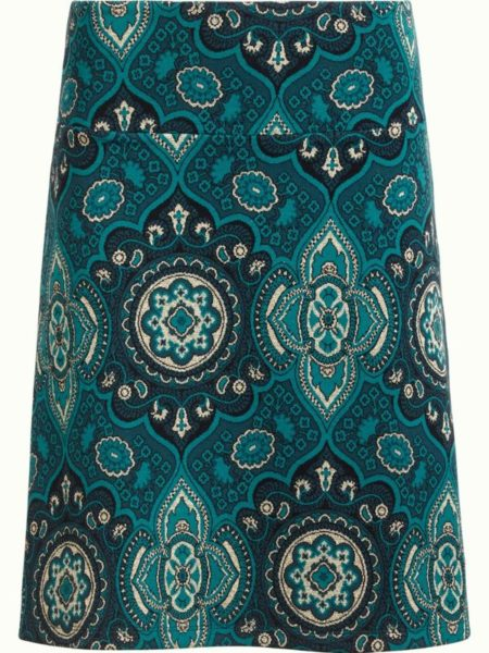 Flot nederdel i retroprint i blå-petrol farver