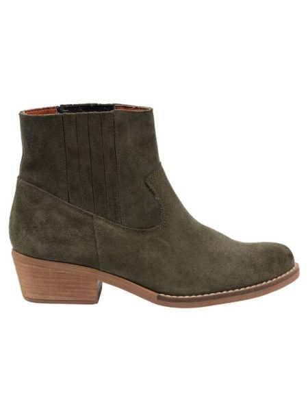 Army grøn Kort støvle med memoryskum i sålen og kort hæl