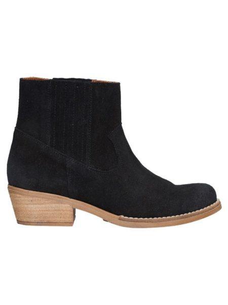 Sort kortskaftet støvle i sort ruskind