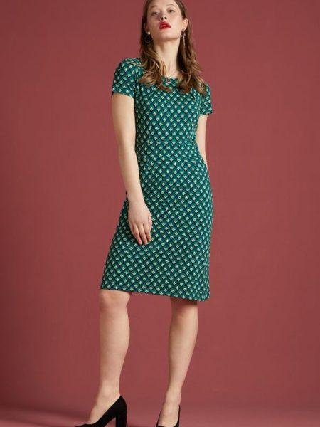 Kropsnær flot kjole med korte ærmer i grøn-blå farver