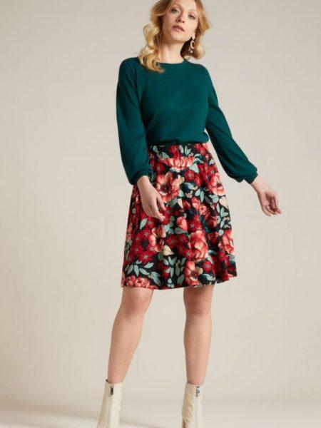 Flot knælang nederdel i blomstret print