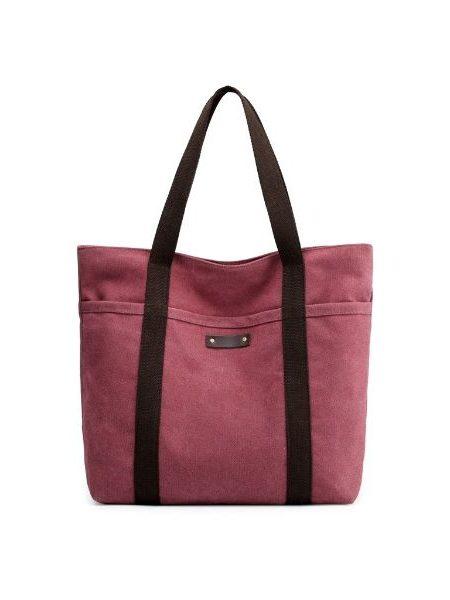 Bordeaux farvet canvas taske med 2 skulderremme