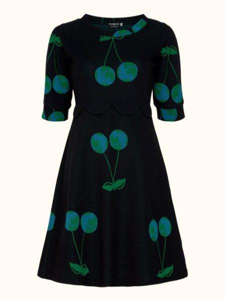 Sort lækker kjole med kirsebær stilke med jordkloden i kirsebæret