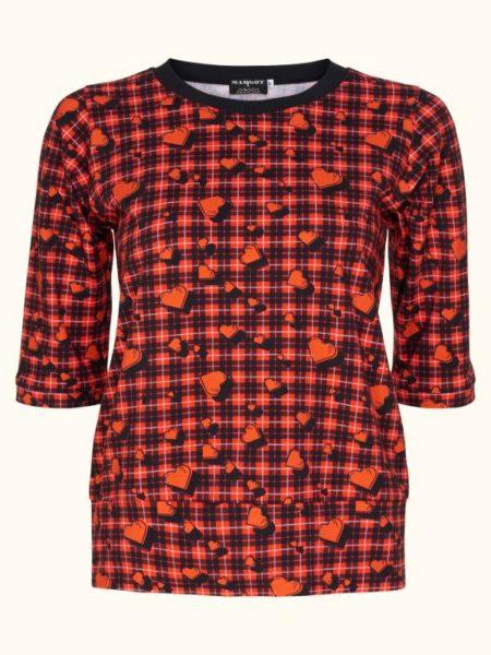 Rød/sort bluse fra Margot med røde hjerter