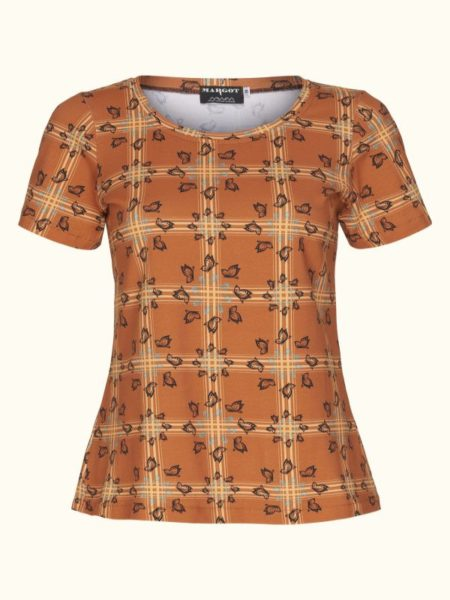 Tshirt i brændt orange med fint mønster