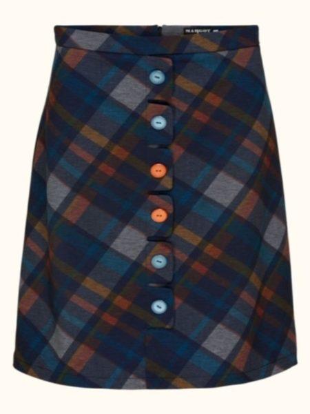 """""""skotsk"""" ternet flot nederdel i blå, petrol og brændt orange i farverne"""