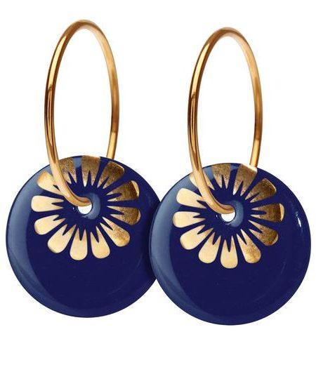 Smukke marine blå øreringe i porcelæn og forgyldte ringe