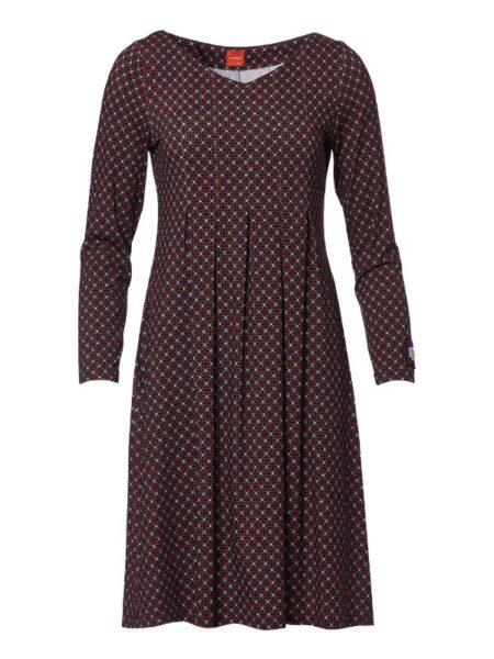 Printet kjole med læg under brystet