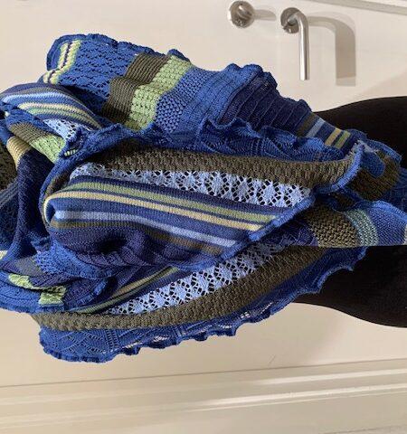 tyndt merino uld tørklæde i blå nuancer