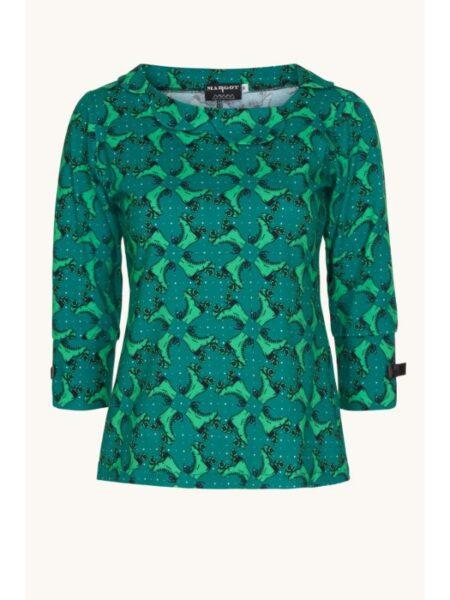 Flot grøn printet bluse fra Margot
