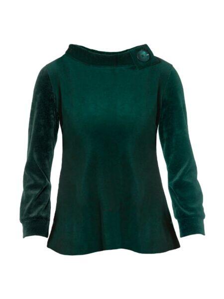 Grøn velour bluse i A facon med hæklerier