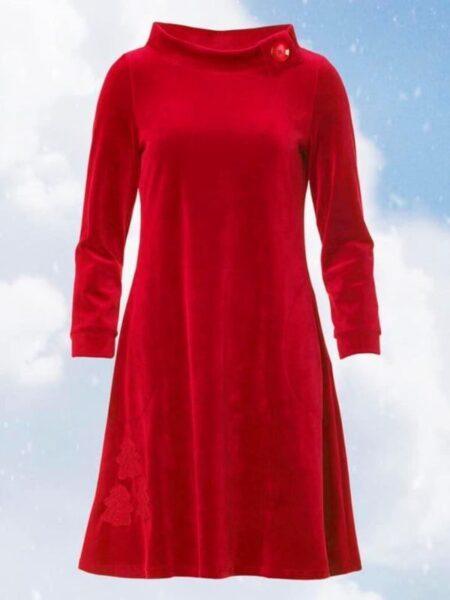 Rød velourkjole i A facon