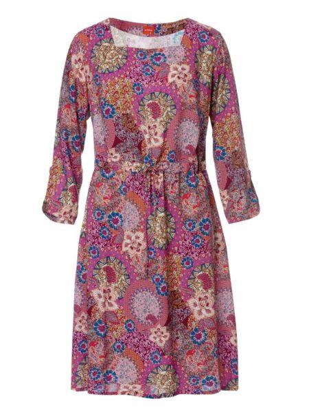 Lyserød printet kjole i fast viskose stof