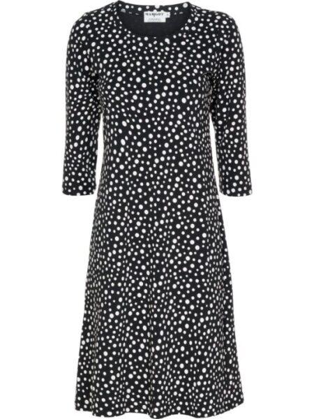 T shirt kjole i sort med hvide prikker
