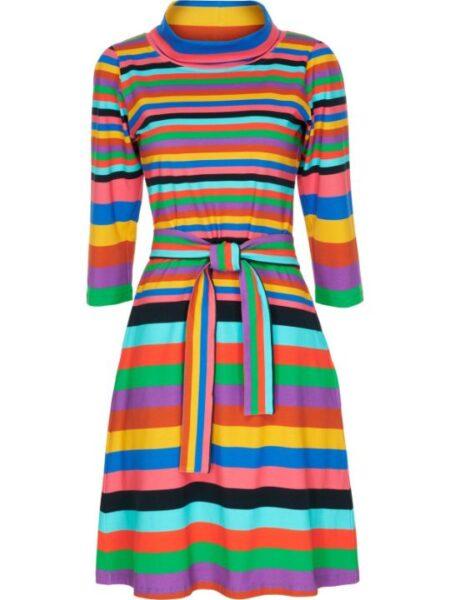 Knælang mutistribet kjole