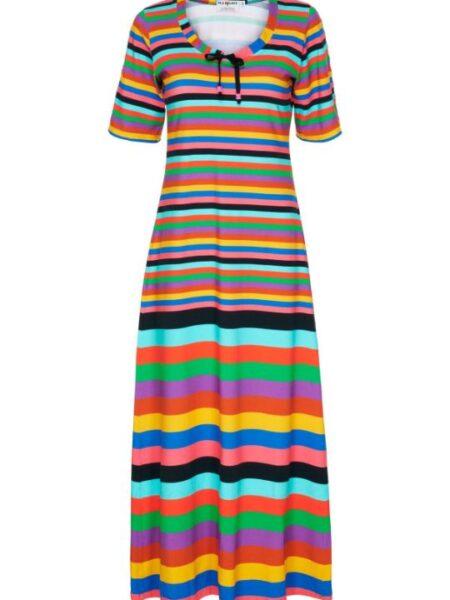 Lang stribet multifarvet kjole
