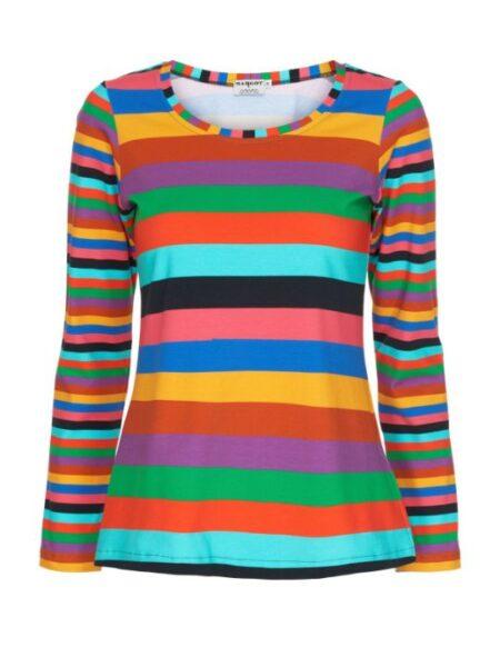 Multistribet t shirt med lange ærmer
