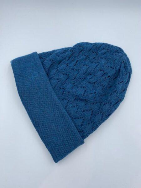Flot blå hue i merino uld