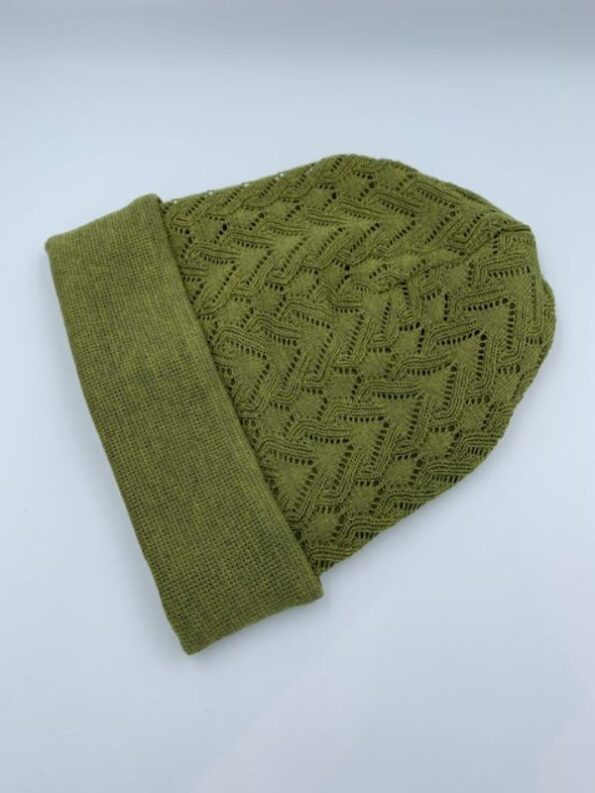 Bambus grøn hue i merino uld